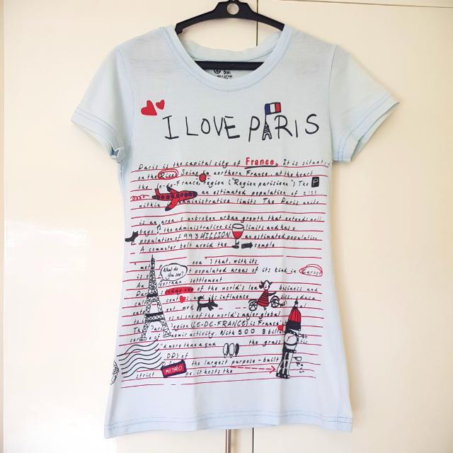 I Love Paris Shirt - Light Blue
