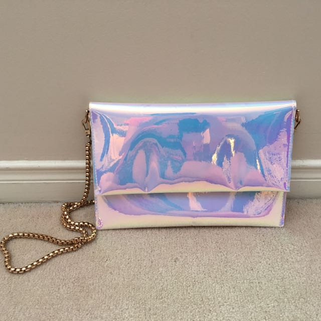 Iridescent Holographic Flip-Over Purse