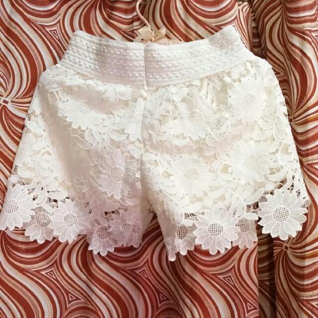 Lace Shorts White