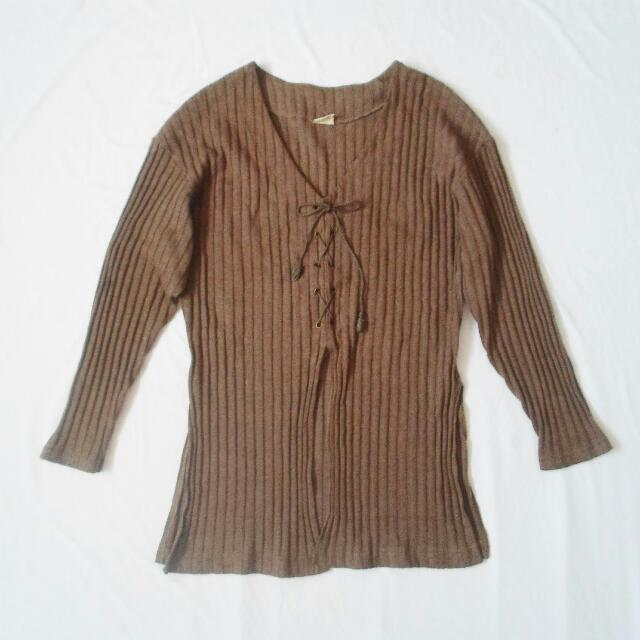 Laced-up Knitted Sweater