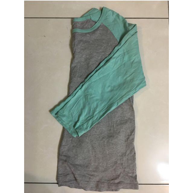 Lativ 撞色七分袖 棒球衣 薄荷綠 蒂芬妮綠 灰色