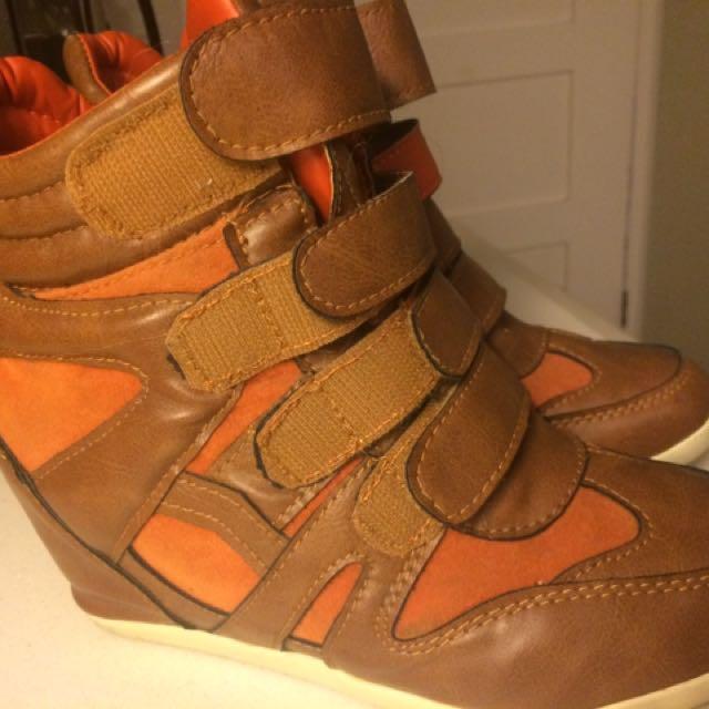 Leather Hidden Wedge Sneakers