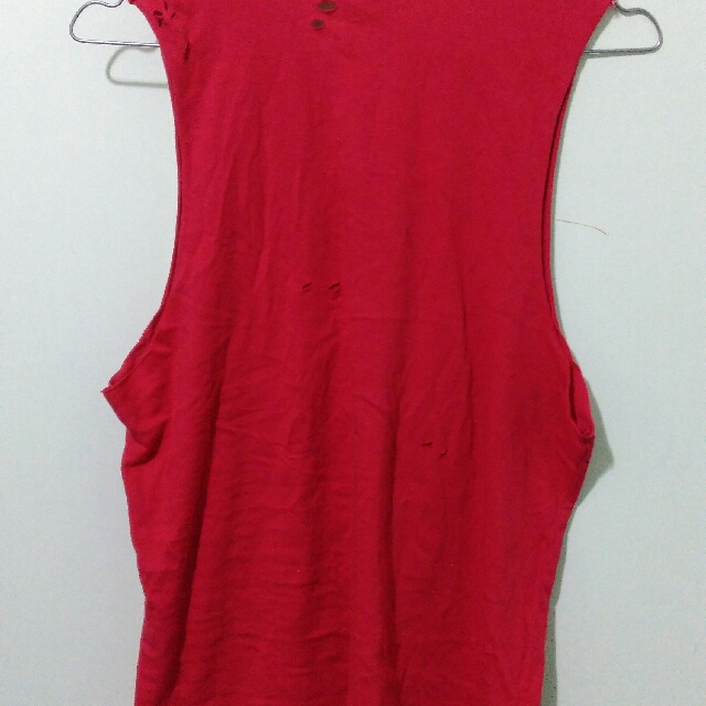 Lees Red Ripped Top