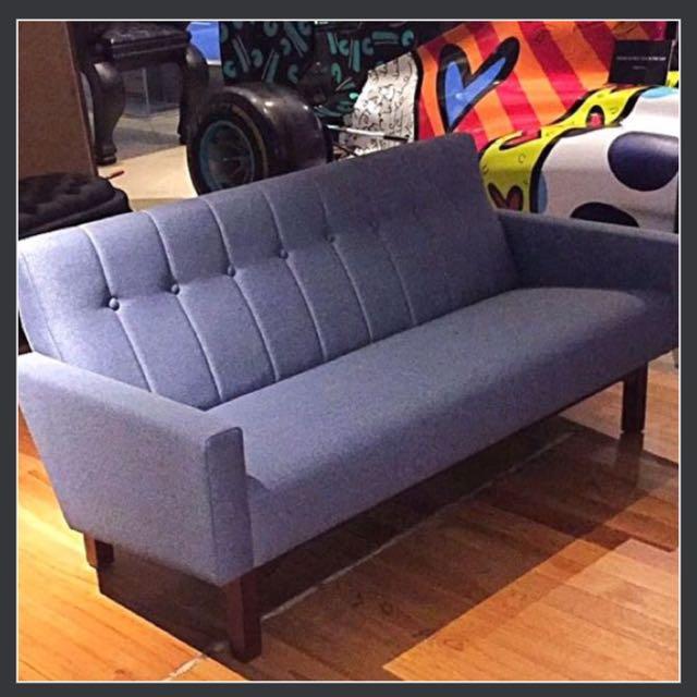 Midcentury Eames Style Designer Sofa 3 Seater Teakwood Scandinavian ...