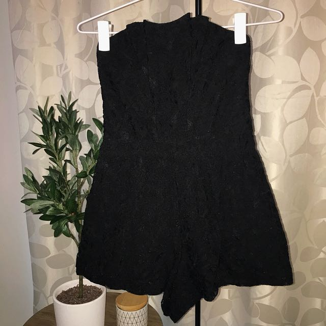 Mooloolaba (size 8)- Black Lace Playsuit