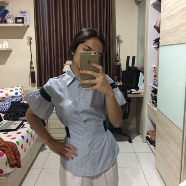 Navy stripes blouse