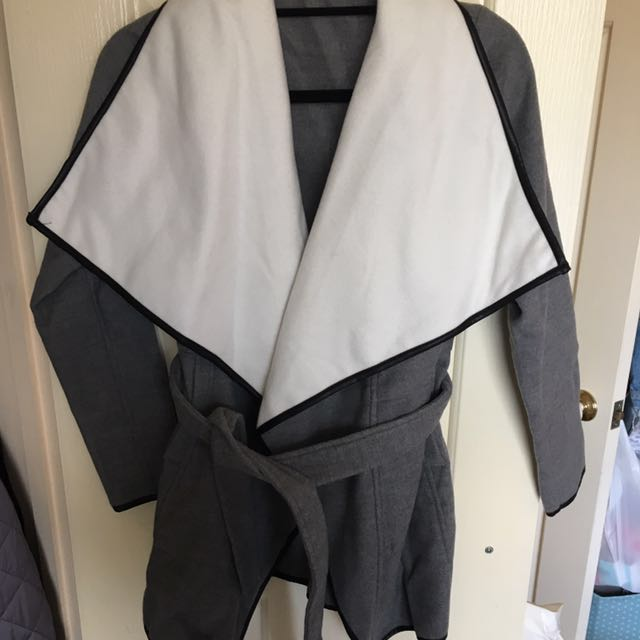 NEW White And Grey Trench Coat -size S/M