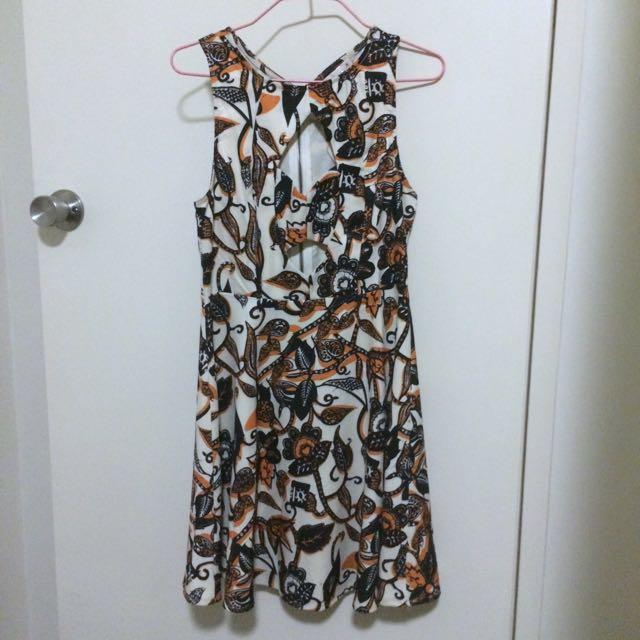 Orange/Cream/Black Dress With Cutout