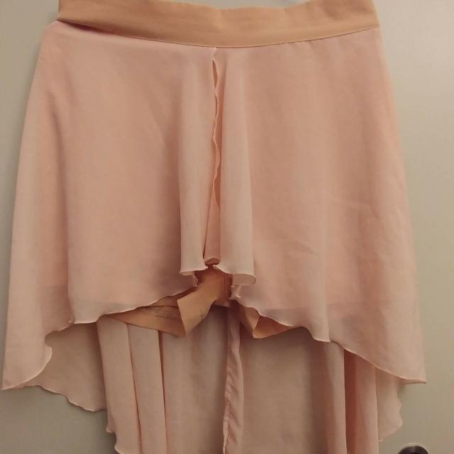 Pink Chiffon Shorts With Skirt Overlay