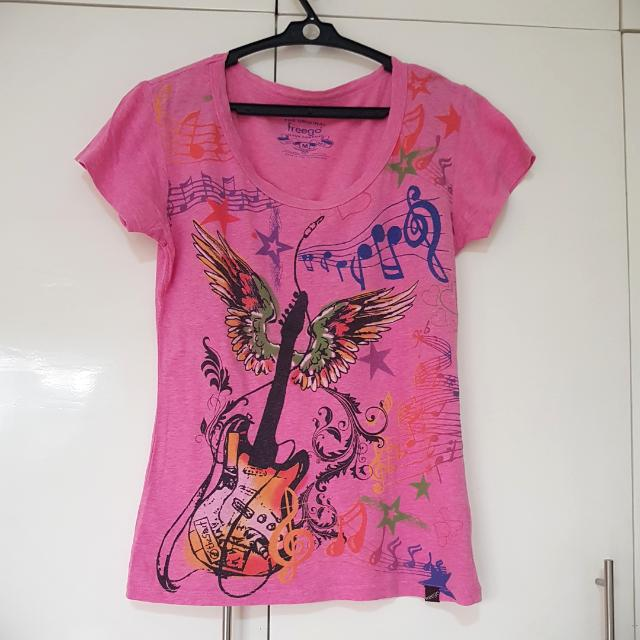 Pink Shirt With Guitar - Freego