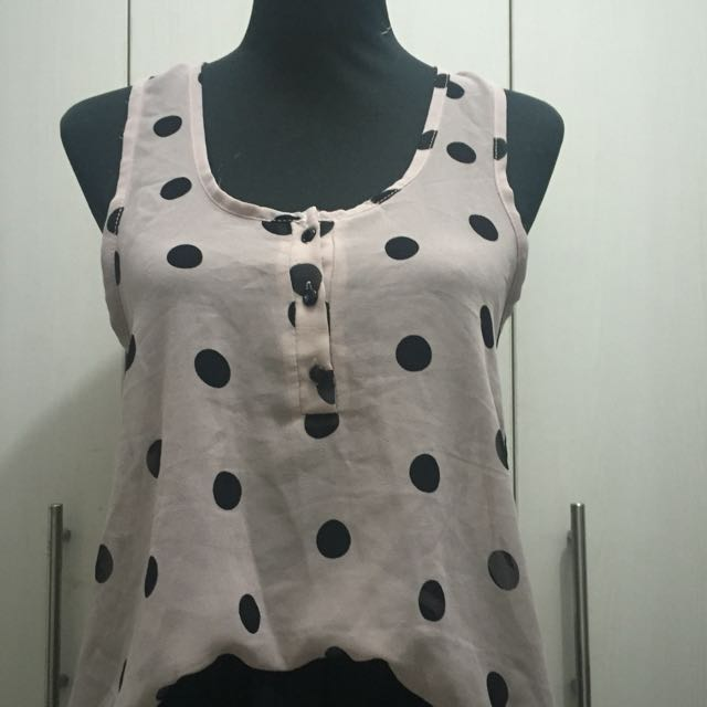 Polka Dotted Sleeveless Chiffon Top - Pre-loved