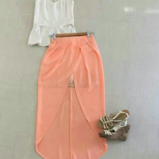 POSTAGE INCL. REDUCED from $38. #bardot #peach #maxi #skirt with #mini underneath. Best of both looks. #size8 #neverworn
