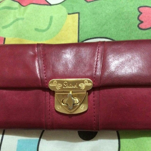 ¤Repriced¤ Salad Red Leather Long Wallet