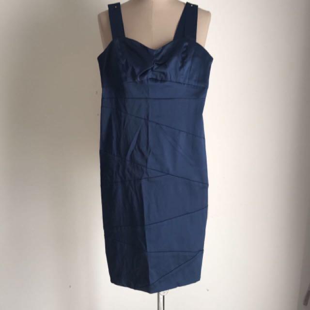 Satin Blue Cocktail Dress