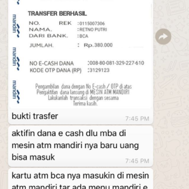 Sharing penipuan transfer by e cash