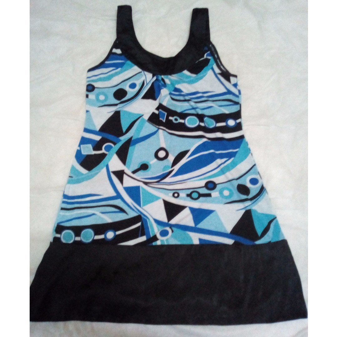 SILK BLACK PATTERN DRESS BLUE