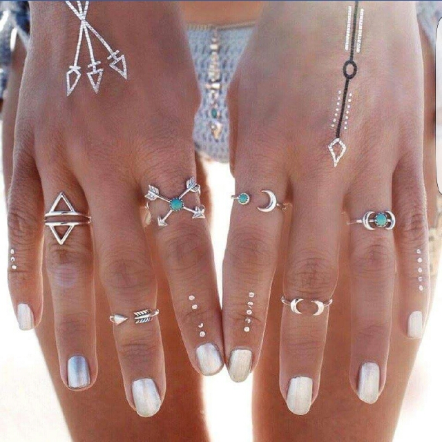 Silver Turquoise Ring Set