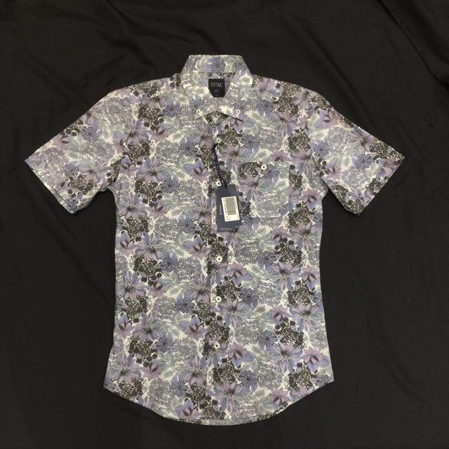 Sst&c 短袖襯衫 滿版印花 修身剪裁 14.5