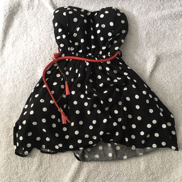 strapless polka dot dress with red belt