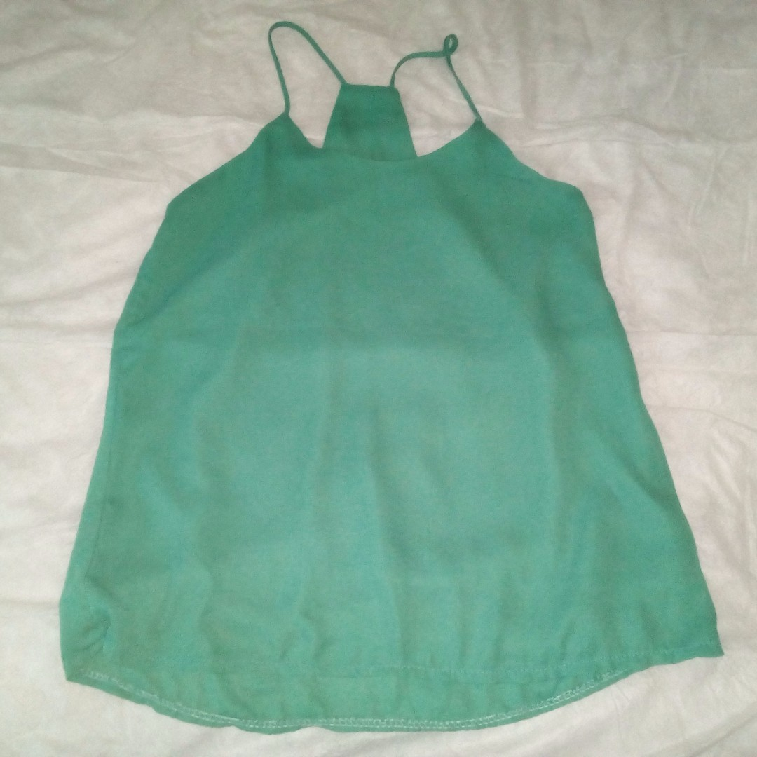 STYLISH CHIFFON GREEN TOP STRAP