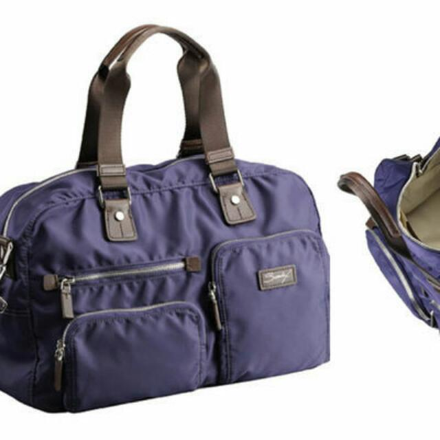 美國品牌sumdex靛紫色.防水尼龍.輕量斜背包.側背包.手提包.出國隨身包