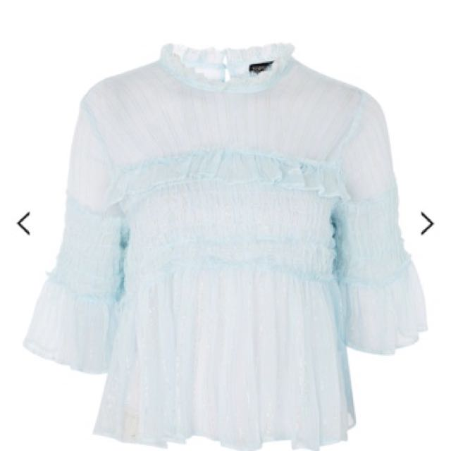 Topshop 乳白蕾絲罩衫S