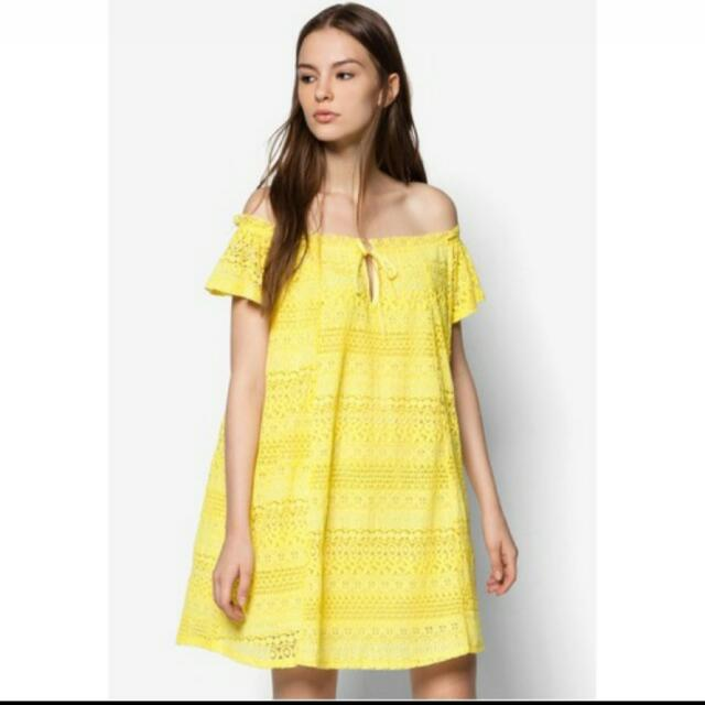 Topshop Yellow Lace Bardot