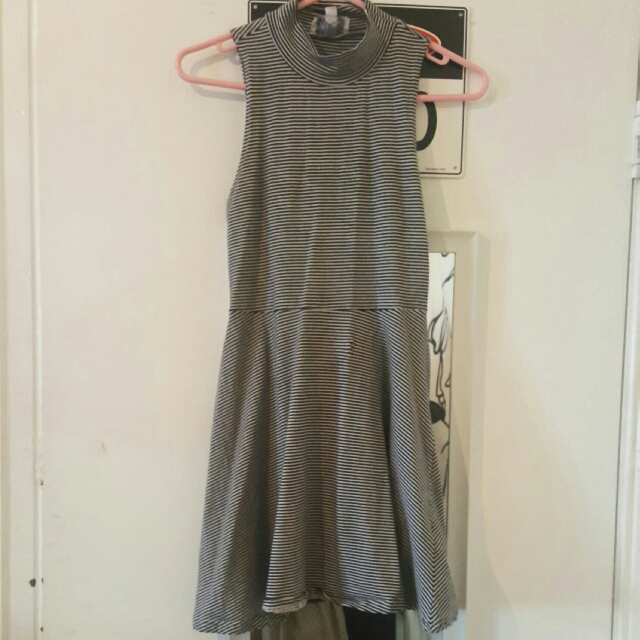 Turtle Necked Fit And Flare Striped Dress