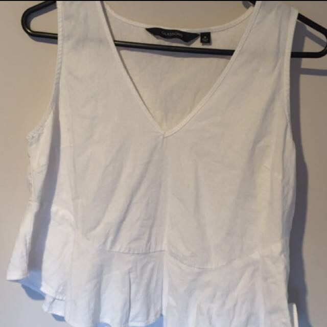 White flared glassons shirt