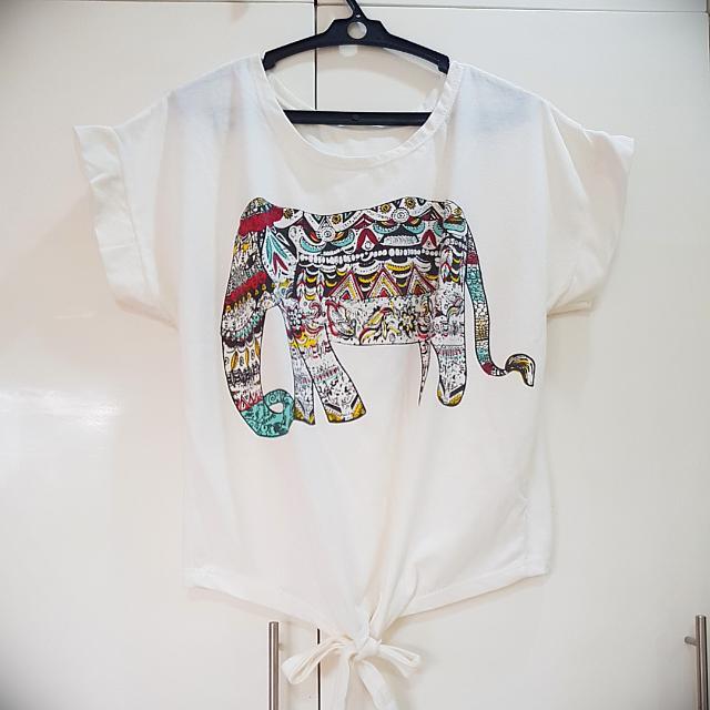 White Shirt With Elephant Print