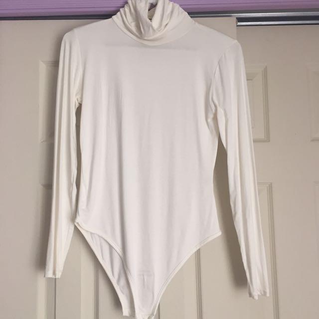 White Turtle Neck Long Sleeve Bodysuit