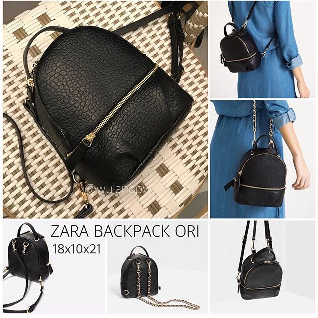 Zara Backpack Conver Kulit Original