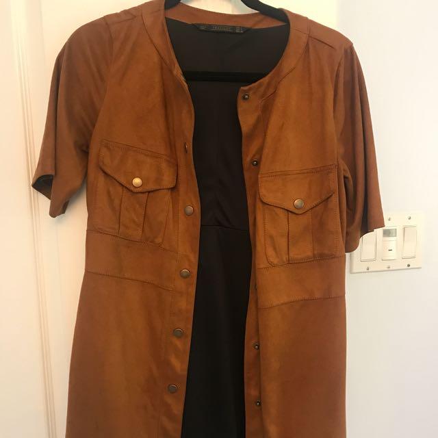 Zara suede button up dress
