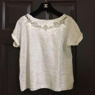 🚚 🇰🇷[正韓]銀白蕾絲刺繡短袖上衣