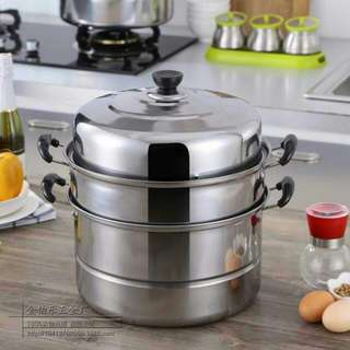 2pcs Stainless Steel Steamer And Cooker Pots 28cm