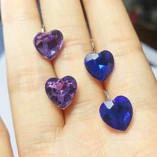 Purple And Royal Blue Heart Jewel Earrings