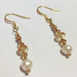 Vintage Handmade Gold Beaded Dangle Earrings