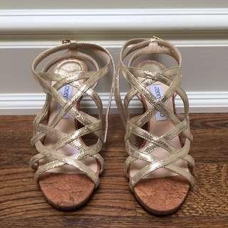 Jimmy choo size 38 gold and cork sandal heel
