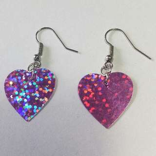 Sparkly Iridescent Pink Heart Shaped Dangle Earrings