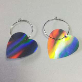 90s/Y2k Rave Silver Hoop Earrings With Holographic Hearts