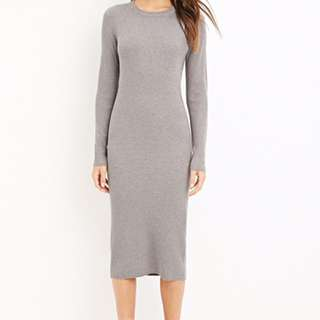 Forever 21 Ribbed Knit Long Sleeve Midi Dress