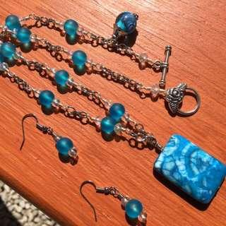 Crazy Lace Blue Agate, Semi Precious Necklace Set