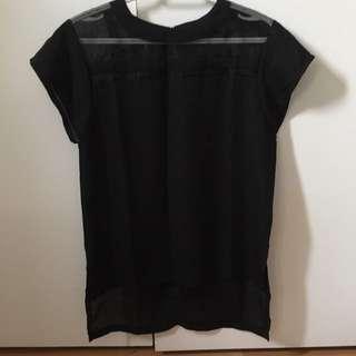black tee shirt with mesh stripes
