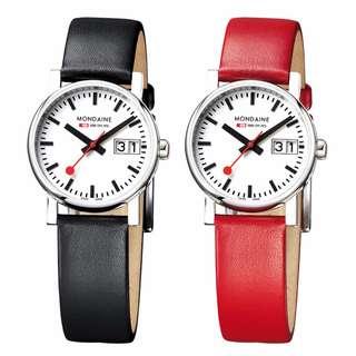 MONDAINE 瑞士國鐵時光走廊腕錶/30mm-紅/黑錶帶 66911S