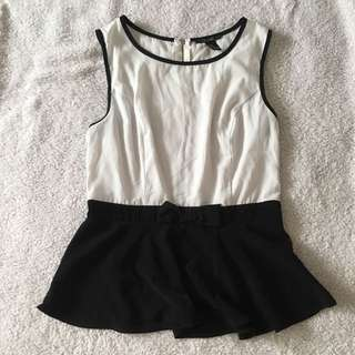 black and white top with bow