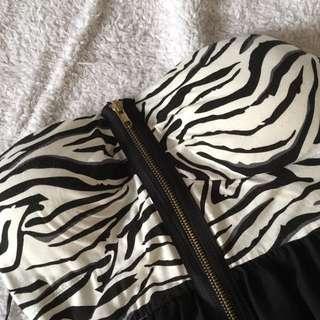 zebra patterned high-low strapless dress