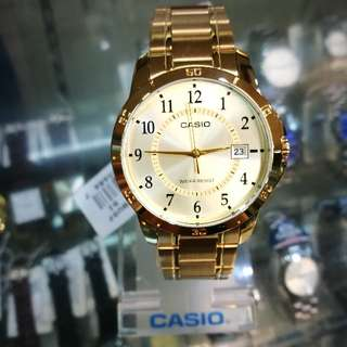 Casio Men Gold Tone Large Dial Watch