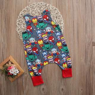 KIDS Babies Toddlers Baby Unisex sleeveless Cartoon Hero Printed Romper Jumpsuit