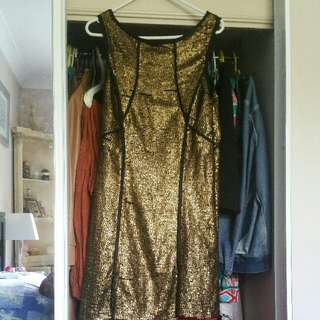 Gold Sequin Tight Bodycon Clubbing Dress