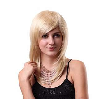 """STfantasy Wigs 20"""" Woman Straight medium long Hair Wigs with bangs Long Lasting wig Synthetic Golden Blonde Wig  (FREE SHIPPING FROM JAPAN)"""